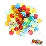 CHIFOOM Chip di Plastica,320 PCS Fiches da Bingo e 1 PCS Scatola di immagazzinaggio Trasparente Gettone di Plastica Colorati Contatore Strumenti Matematici per Bambini