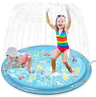 "Jasonwell Sprinkler for Kids Splash Pad Play Mat 60"" Baby Wading Pool for Toddlers Summer Outdoor Water Toys Kids Sprinkler Pool for Boys Girls Children Numbers Learning Age 1 2 3 4 5 6 7 8"