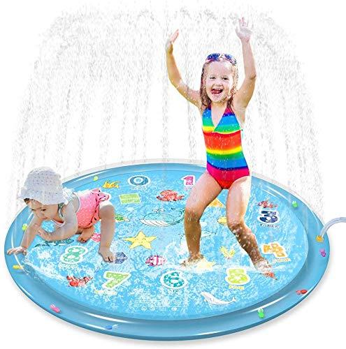 "Jasonwell Sprinkler for Kids Splash Pad Play Mat 60"" Baby Wading Pool for Toddlers Summer Outdoor Water Toys Kids Sprinkler Pool for Boys Girls Children Numbers Learning Age 1 2 3 4 5 6 7 8"