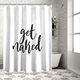 Z&L Home White Shower Curtains Bathroom Decorations-Get Naked Black Script Shower Curtain with Hooks Polyester Fabric 72x72Inches