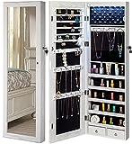 YOKUKINA Jewelry Mirror Cabinet, Large Storage Organizer w/ LED Light, Door-Hanging/ Wall-Mounted Lockable Armoire (Ivory)