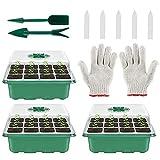 TTIK 3 pcs Bandeja Semillas, Caja de plántulas de plástico de 12 Hoyos para Recipiente de Germinación de Plantas Ecológicas y Biodegradables, Combinación de Tres Piezas