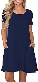 FZ FANTASTIC ZONE Women`s Casual Summer T Shirt Dresses Short Sleeve Swing Dress with Pockets