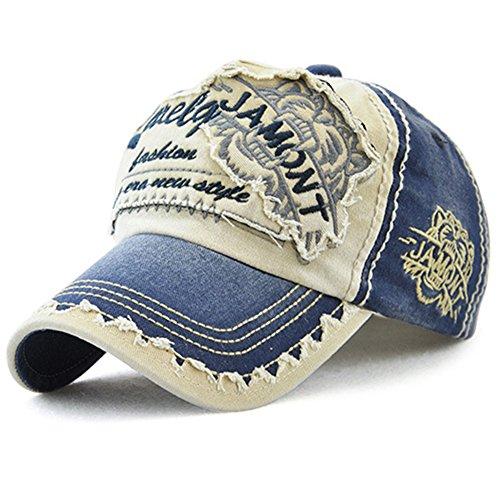 Tioamy Baseball Kappe Basecap Unisex einstellbare Retro Baseball Hut Freizeit Cap modischste Cotton Cap Schreiben Outdoor Hut, Einheitsgröße, Blau