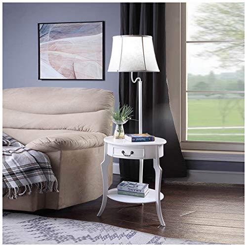 QTDH Moderne salontafel, staande lamp met lade, pastoraal, dimbare led-vloerlamp, bijzettafel, staande leeslamp voor woonkamer, kantoor en kantoor