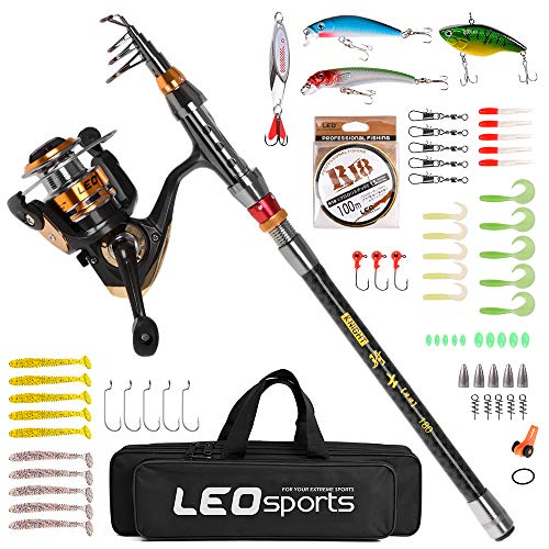Best Prices! Walmeck Fishing Rod and Reel Combo Carbon Fiber Telescopic Fishing Rod with Spinning Re...