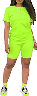 Womens Lightweight 2 Piece Sports Outfit Tracksuit Shirt Shorts Jogger Sportswear Set Activewear