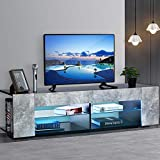 MOERAE TV Stand, Modern Fashion TV Cabinet Unit w/LED Light+4 Shelves Console Cabinet Furniture, for The Study Bedroom Living Room Office, in Gray