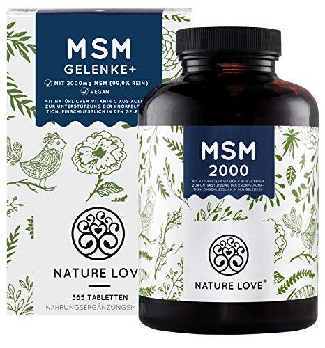 MSM 2000 mit natürlichem Vitamin C - 365 Tabletten (6 Monate) - Laborgeprüfte 2000mg MSM (Tagesdosis) - z.B. für Gelenke** - Hochdosiert, vegan, hergestellt in Deutschland