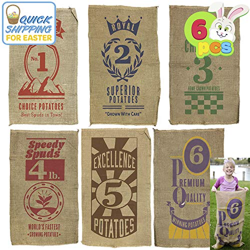 """6 PCs Burlap Bags; 40"""" x 24"""" Potato Sacks Racing Bags for All Ages Kids & Family, Carnival Games Party Favor, Outdoor Game Activity, Outside Lawn Games Party Supplies Décor Props Decorations."""