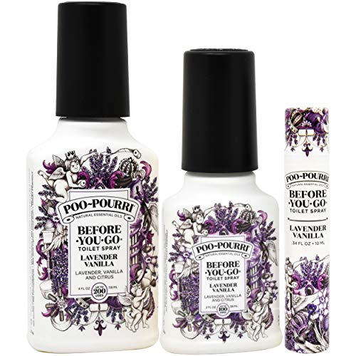 Poo-Pourri Lavender Vanilla 2 Ounce, 4 Ounce, Travel Size Spritzer, and Box