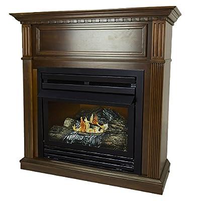Pleasant Hearth 42 Intermediate Cherry Natural Gas Vent Free Fireplace System 27,500 BTU