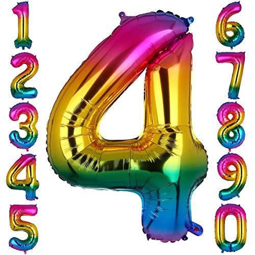 Big Eye Owl 100 cm Groß Regenbogen Zahl 4 Folienballon Luftballon Folien Mylar Riese MäDchen Helium Ballons Geburtstag Party Deko Lieferungen Baby