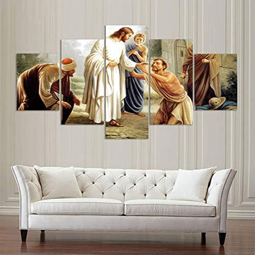 BAEPAYF Bilder 150x80cm Vlies Leinwandbild 5 TLG Kunstdruck modern Wandbilder XXL Wanddekoration Design - Jesus heilt die Kranken HD Drucke Leinwand Wandkunst Wohnzimmer Wohnkultur