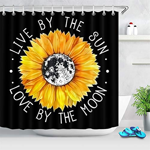 LB Boho Style Yellow Sunlfower Shower Curtain Flowers Live by The Sun Love by The Moon with Motivation Quote Shower Curtains for Bathroom 72x72 Inch Polyester Fabric with 12 Hooks