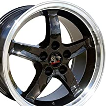 OE Wheels 17 Inch Fits Ford Mustang 1994-2004 4Lug Cobra R Style FR04B Black with Machined Lip 17x9 Rim