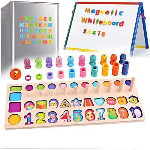 6 en 1 Números Madera Magnéticos de Madera para Niños Pequeños Juguete Educativo Montessori Magnéticos para Niños de 3 A 8 Años, Niñas, Juguetes Educativos Montessori para Niños, Bloques de Madera Co