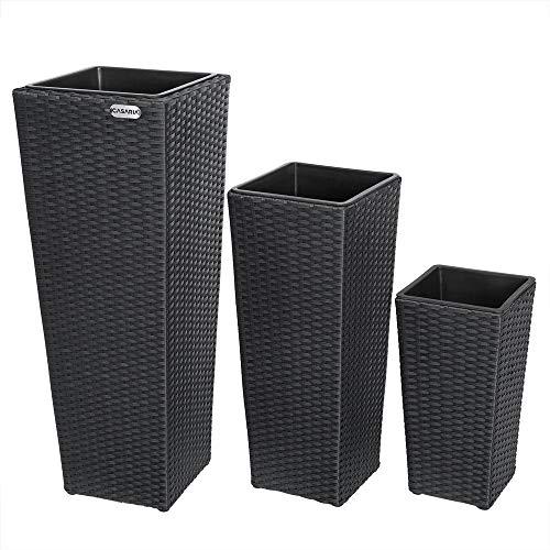 Set de 3 Pots de Fleurs bac à Fleurs Noir polyrotin Pot intérieur Amovible Design élégant résistant aux intempéries et UV intérieur et extérieur