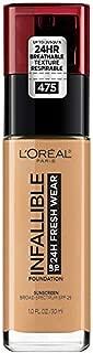 L'Oréal Paris Makeup Infallible up to 24HR Fresh Wear Liquid Longwear Foundation, Lightweight, Breathable, Natural Matte Finish, Medium-Full Coverage, Sweat & Transfer Resistant, Sun Beige, 1 fl. oz.