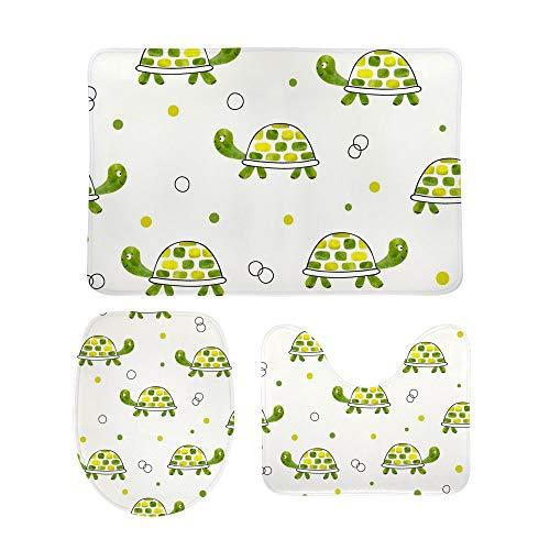 Lafle - Set di tappetini Antiscivolo da Bagno a Forma di Tartaruga Verde Acquerello + copriwater + Tappetino da Bagno, 3 Pezzi