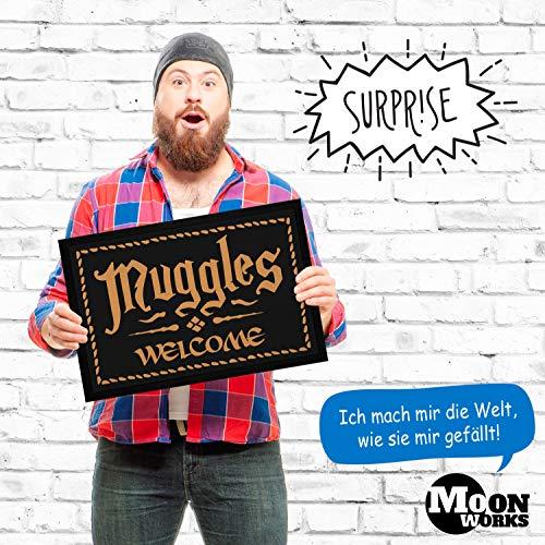 """MoonWorks® Felpudo con texto en alemán """"Muggles Welcome Willkommen Fantasy Buch/Film-Serie, Zaubern"""", antideslizante y lavable, color negro, 60 x 40 cm"""