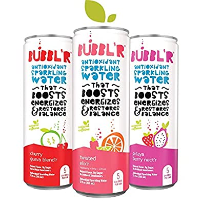 BUBBL'R Antioxidant Sparkling Water Variety Pack - 24 Pack (Twisted Elix'r, Pitaya Berry, Cherry Guava)