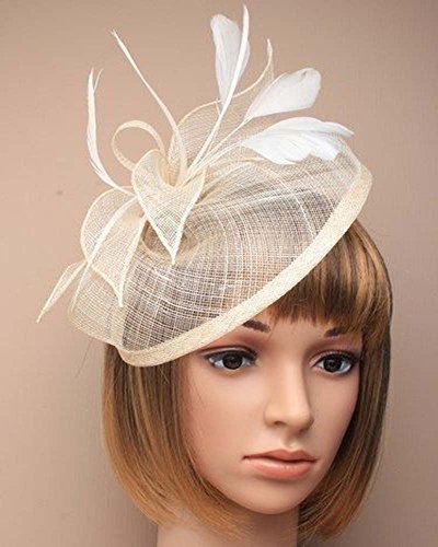 LARGE FASCINATOR Hatinator Hat Weddings Races Ladies Day Hairband Alice band (Cream) by Unknown
