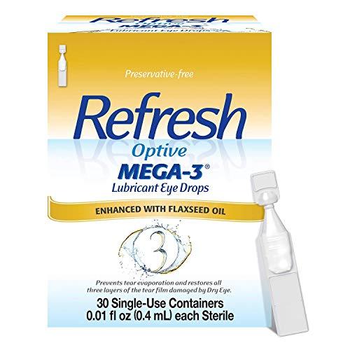 Refresh Optive Mega 3 Preservative Free Eye Drops - 30 Each (Pack of 4)