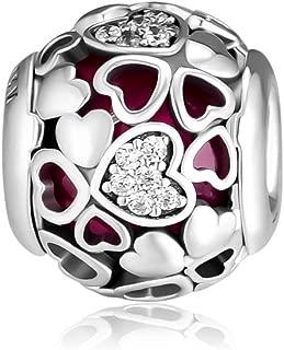 CKK Encased in Love Charm Fit for Pandora Bead Bracelet 100% 925 Sterling Silver Bead DIY Women Jewelry Gift, Valentine's Day Pink