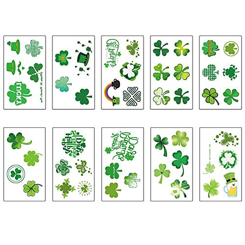 Moent Calcomanías verdes del día de San Patricio, trébol de cuatro hojas de trébol de la suerte, decoración de fiesta festival, regalos para niños (F)