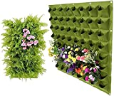 Bolsa para plantas colgante, 64 bolsillos, vertical, para jardín, para colgar en la pared, para exterior, interior, color verde