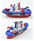 Barco de extinción de incendios eléctrico de simulación para niños, juguetes modelo para niños con música, luces y agua pulverizada [Barco de extinción de incendios de agua colorable (caja en inglés)