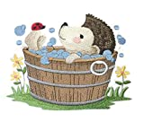 Nature Weaved in Threads, Amazing Baby Animal Kingdom [Woodland Bath Time - Hedgehog] [Custom and Unique] Embroidered Iron on/Sew Patch [5.86.'4.76'] [Made in USA]