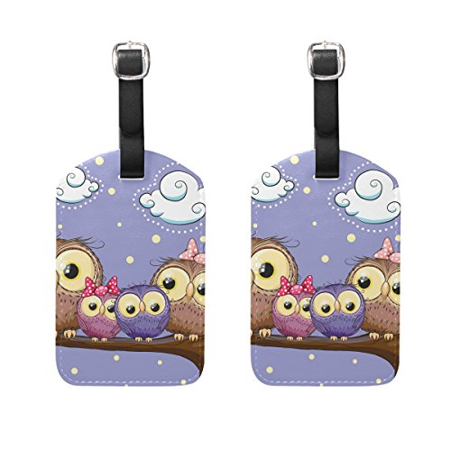 COOSUN Owls Family Luggage Tags Travel Labels Tag Name Card Holder for Baggage Suitcase Bag Backpacks, 2 PCS