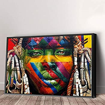 Eduardo Kobra African Graffiti Wall Canvas Art Home Decor  36in x 24in Modern Black Framed