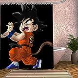 wywyet Dragon Ball Goku Anime 3D Gedruckter Duschvorhang Wasserdichter Anti-Schimmel Badzubehör Duschvorhang Inkl 12 Duschvorhangringe,150×180Cm