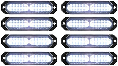ASPL 8pcs Sync Feature Ultra Slim 12 LED Surface Mount Flashing Strobe Lights for Truck Car product image