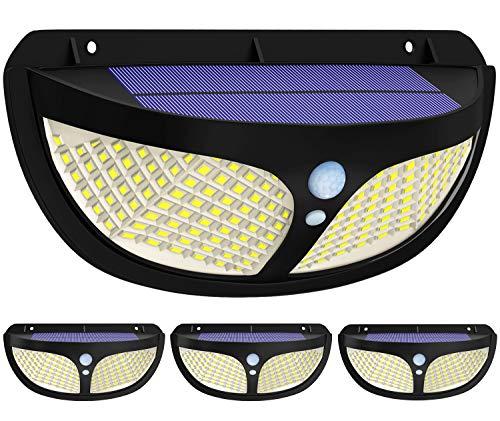 Fortand Outdoor zonne-lampen【Super heldere 98 LED 270 ° vierzijdige verlichting】LED zonne-licht met bewegingsmelder Waterdichte wandlamp op zonne-energie met 3 modiVoor tuin, balkon, terras, binnenplaats, 4 stuks