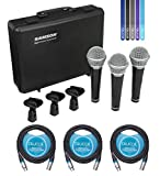 Samson R21 Cardioid Dynamic Microphone for Live Performance and Studio Recording (3 Pack) Bundle with 3-Pack of Blucoil 10-FT Balanced XLR Cables, and 5-Pack of Reusable Cable Ties