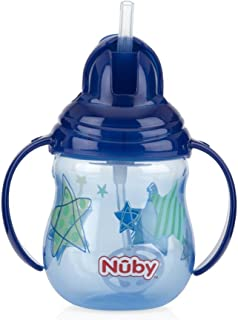 Nuby 1-Pack Designer Series No Spill Flip N' Sip Twin Handle Cup with Weighted Straw, 9 oz - Colors May Vary