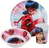 ZAG Heroez Miraculous Ladybug - Set di stoviglie per bambini, con piatto, ciotola e bicchiere in melamina