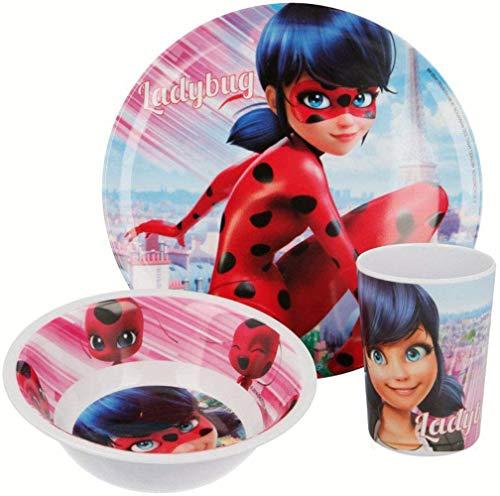 ZAG Heroez Miraculous Ladybug - Juego de vajilla infantil con plato, cuenco para cereales y vaso de melamina