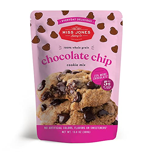 Miss Jones Baking Chocolate Chip Cookie Mix - Whole Grains, More Chocolate Chips, 50% Lower Sugar, Naturally Sweetened Desserts & Treats