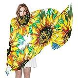 QMIN - Bufanda de seda para mujer, diseño de girasol, diseño de girasol, largo y ligero