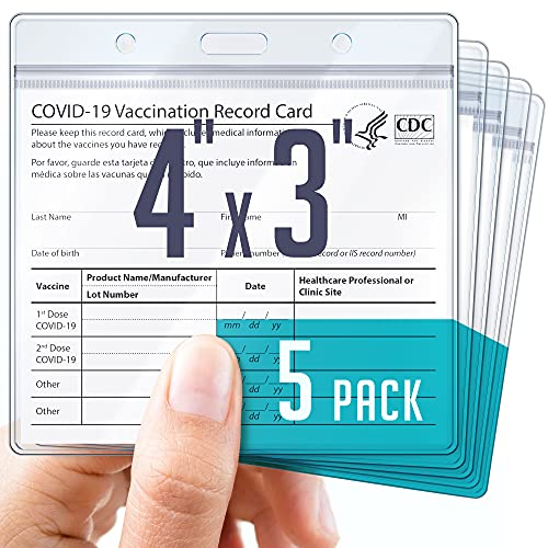 Rightex CDC Vaccine Card Holder Case – Pack of 5 – Durable and Flexible Plastic Card Protector – Vaccination Card Sleeves – Waterproof, Resealable Immunization or Name Badge Cards Protection 4x3inch