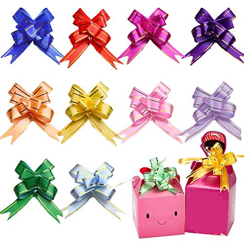 Geschenkschleife, 100 Stück Bunt Geschenkschleifen Schleifenband für Geschenk Verpackung, Ziehen Schleife Körbe Hochzeit Auto Weihnachtsbäum Deko, Geburtstag Weihnachten Schleifen und Band 10 Farben