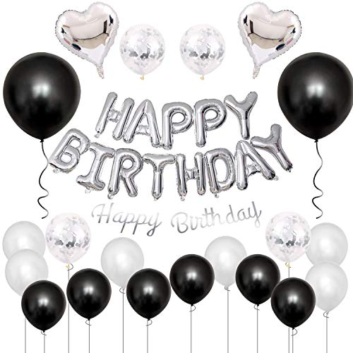 GRESATEK Birthday Balloon Decoration Balloon Set, Happy Birthday Garland, Heart Balloons, Confetti Balloons, Dot Stickers, Ribbon Included, Decoration, Party, Celebration, Surprise, Silver & Black