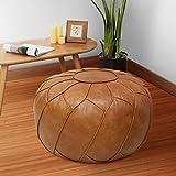 Puf & Pillows-Funda de cojín de cuero artificial pu de alta calidad sin relleno, otomana, muebles cuadrados, sillón puf, taburete, (vacíos y nuevos) (marrón)