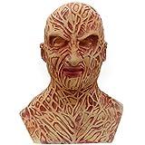 RK-HYTQWR Espeluznante Aterrador máscara de Cara Completa de látex Disfraz de Halloween Cosplay Accesorios de casa embrujada para Fiesta de Disfraces, lámpara de Linterna, látex