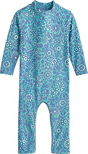 Coolibar UPF 50+ Baby Beach One-Piece Swimsuit - Sun Protective (12-18 Months- Aqua Flower Power)